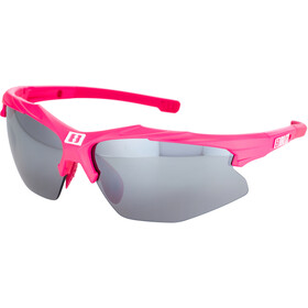 Bliz Hybrid M12 Glasses for Small Faces, rubber neon pink/smoke with silver mirror